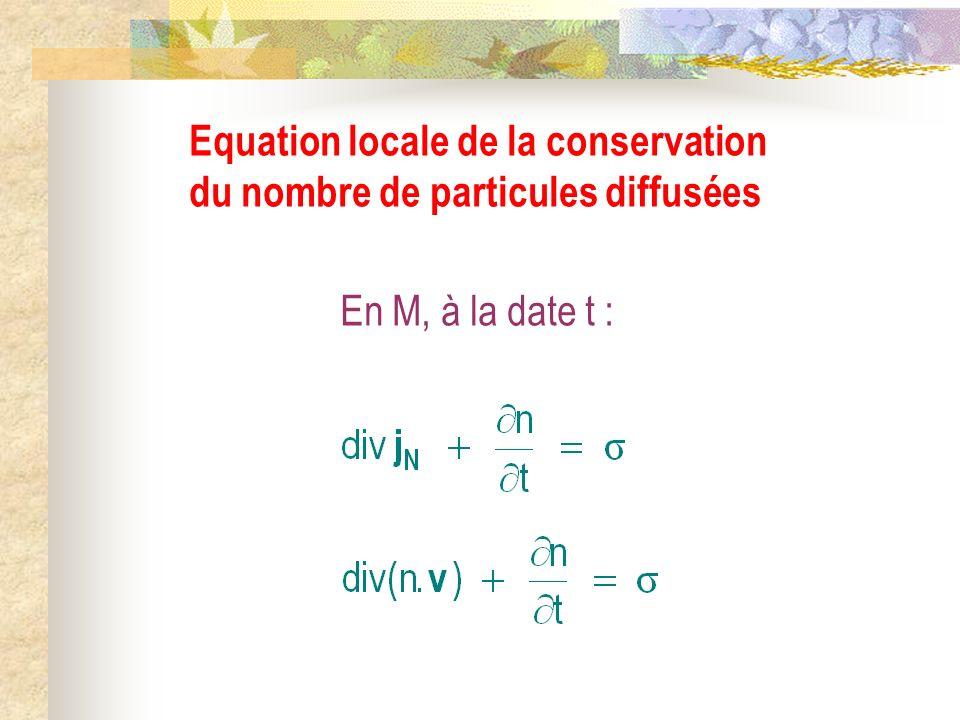 Equation locale de la conservation du nombre de particules diffusées
