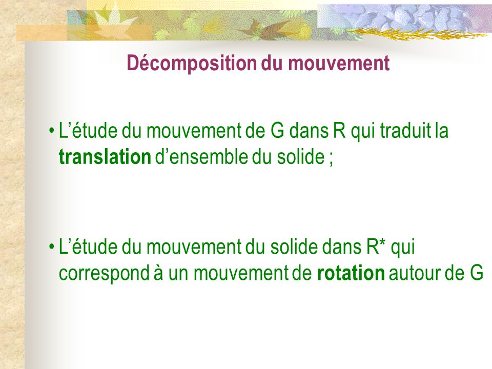 Décomposition du mouvement