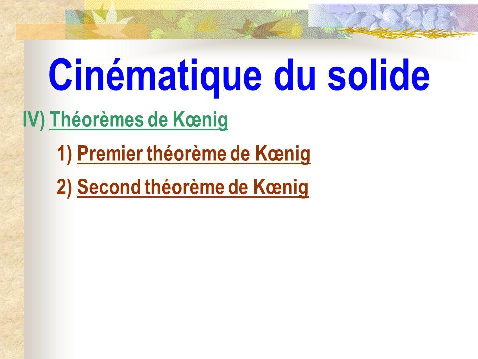 Cinématique du solide IV) Théorèmes de Kœnig