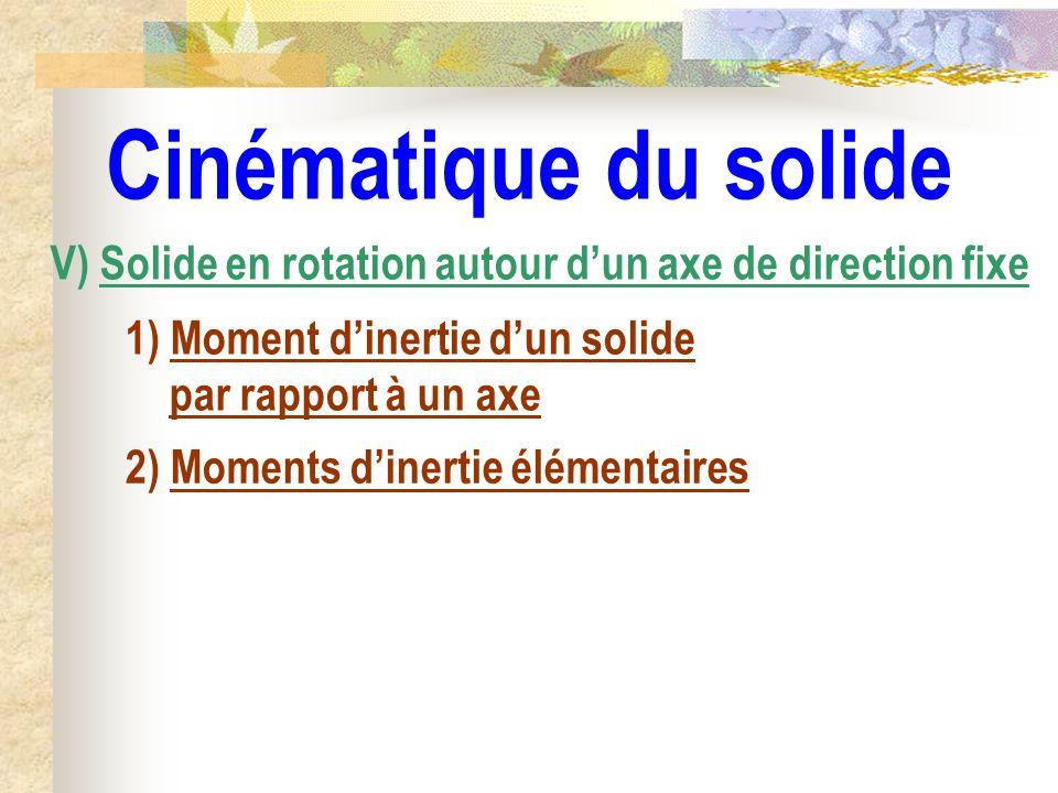 Cinématique du solide V) Solide en rotation autour d'un axe de direction fixe. 1) Moment d'inertie d'un solide par rapport à un axe.