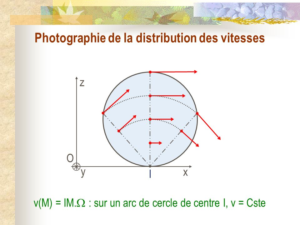 Photographie de la distribution des vitesses