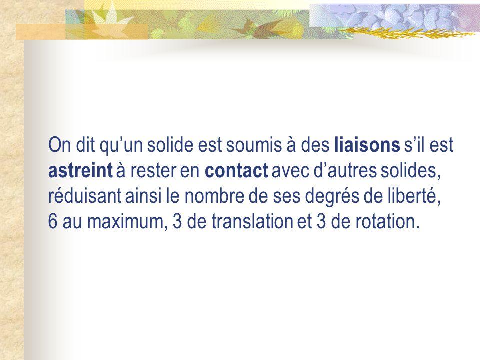 On dit qu'un solide est soumis à des liaisons s'il est astreint à rester en contact avec d'autres solides, réduisant ainsi le nombre de ses degrés de liberté, 6 au maximum, 3 de translation et 3 de rotation.