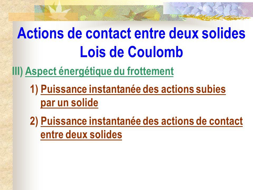 Actions de contact entre deux solides Lois de Coulomb