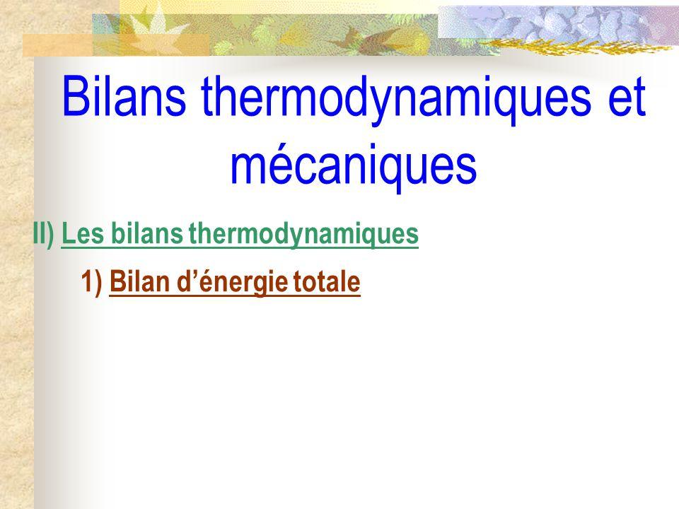 Bilans thermodynamiques et mécaniques