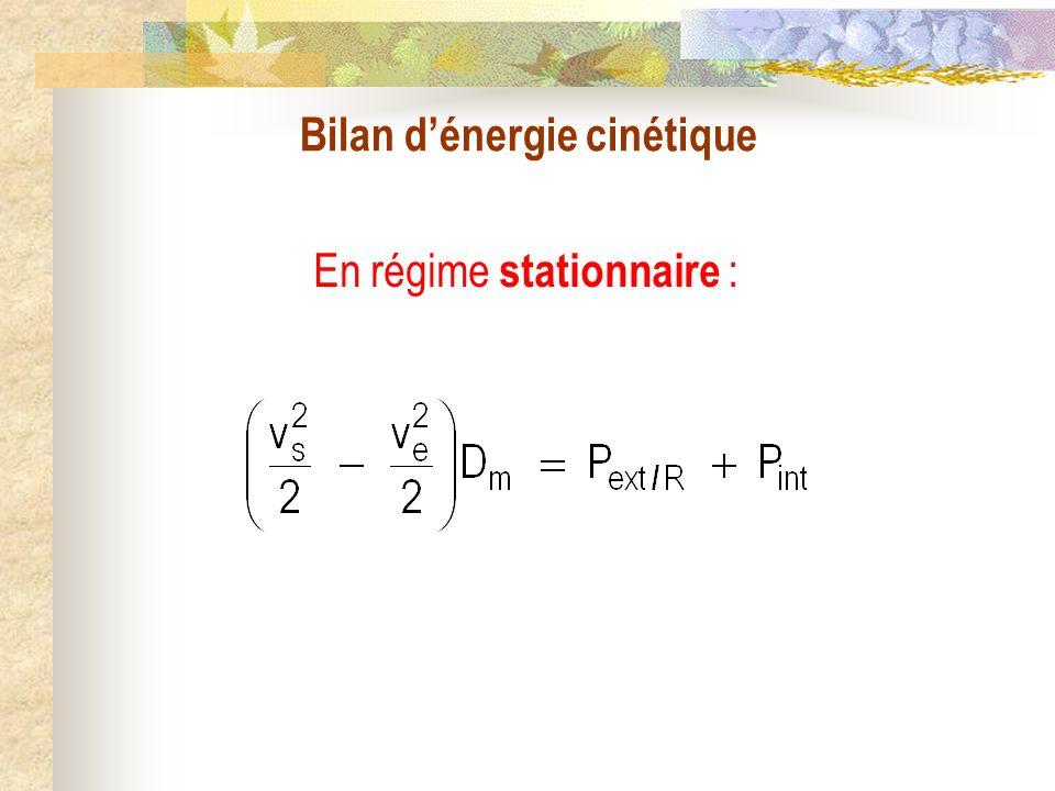 Bilan d'énergie cinétique