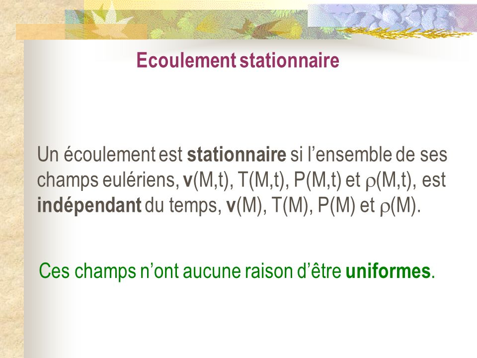 Ecoulement stationnaire