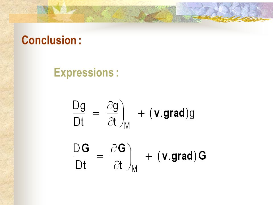 Conclusion : Expressions :
