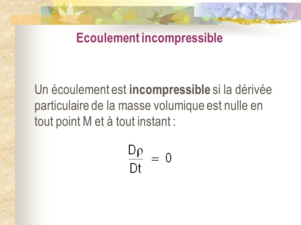 Ecoulement incompressible