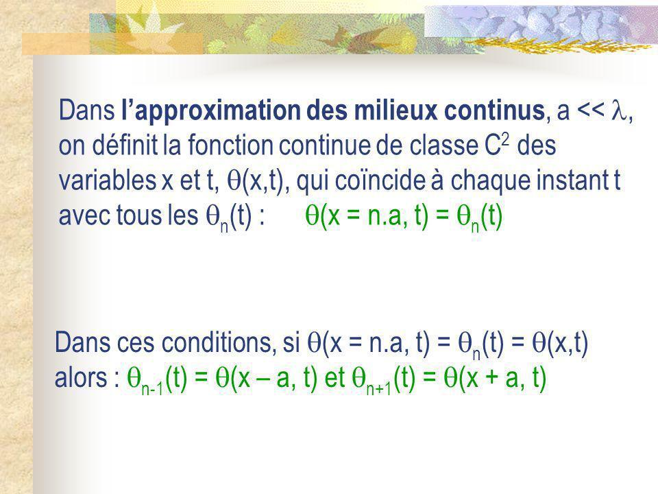 Dans l'approximation des milieux continus, a << , on définit la fonction continue de classe C2 des variables x et t, (x,t), qui coïncide à chaque instant t avec tous les n(t) : (x = n.a, t) = n(t)