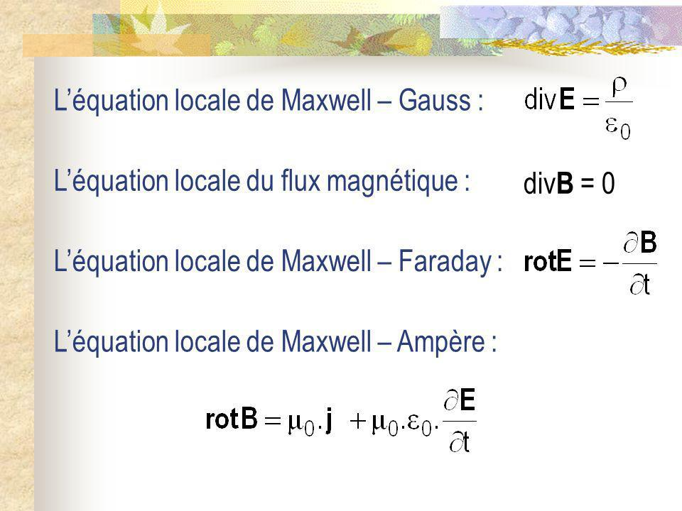 L'équation locale de Maxwell – Gauss :