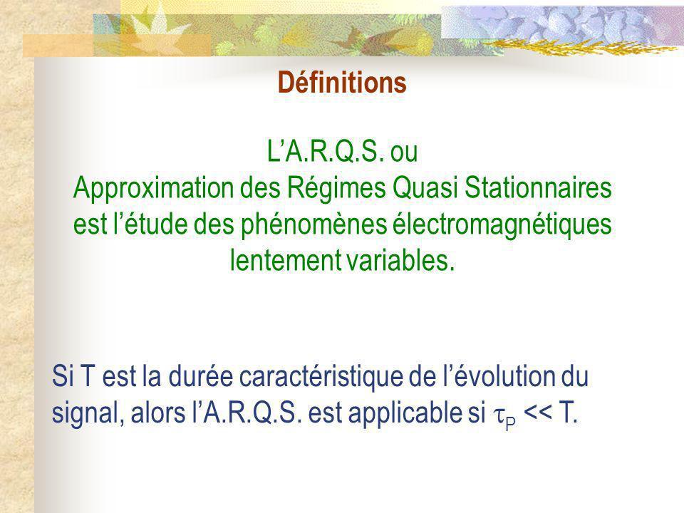Définitions L'A.R.Q.S. ou Approximation des Régimes Quasi Stationnaires est l'étude des phénomènes électromagnétiques lentement variables.