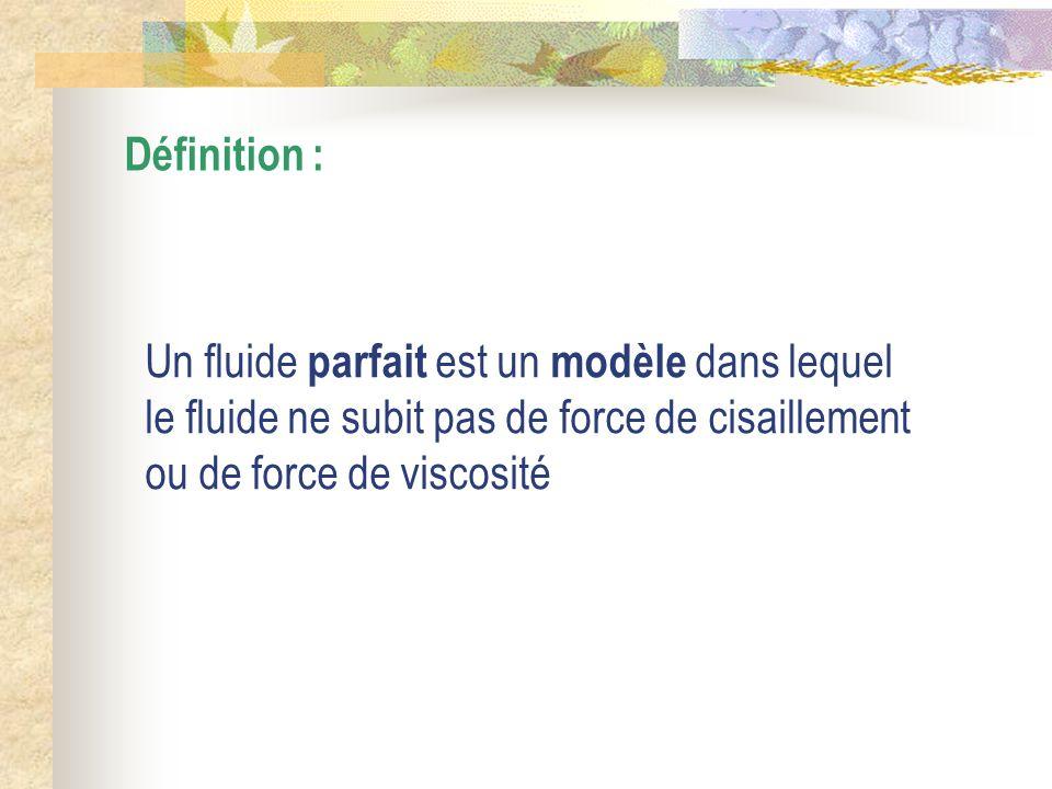 Définition : Un fluide parfait est un modèle dans lequel le fluide ne subit pas de force de cisaillement ou de force de viscosité.