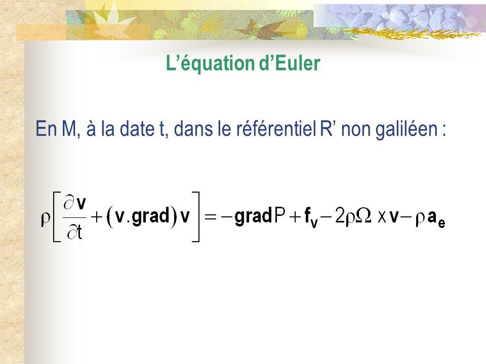 L'équation d'Euler En M, à la date t, dans le référentiel R' non galiléen :