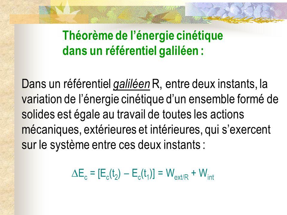 Théorème de l'énergie cinétique dans un référentiel galiléen :
