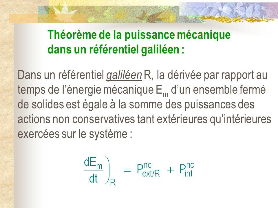 Théorème de la puissance mécanique dans un référentiel galiléen :
