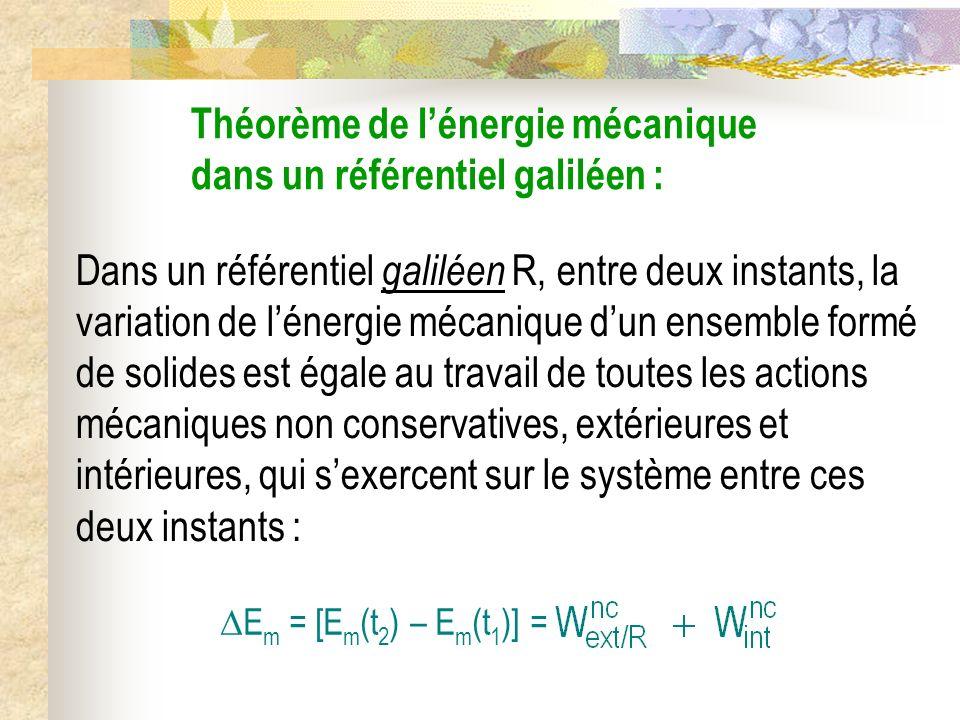 Théorème de l'énergie mécanique dans un référentiel galiléen :