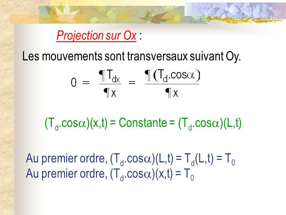 Projection sur Ox : Les mouvements sont transversaux suivant Oy. (Td.cos)(x,t) = Constante = (Td.cos)(L,t)