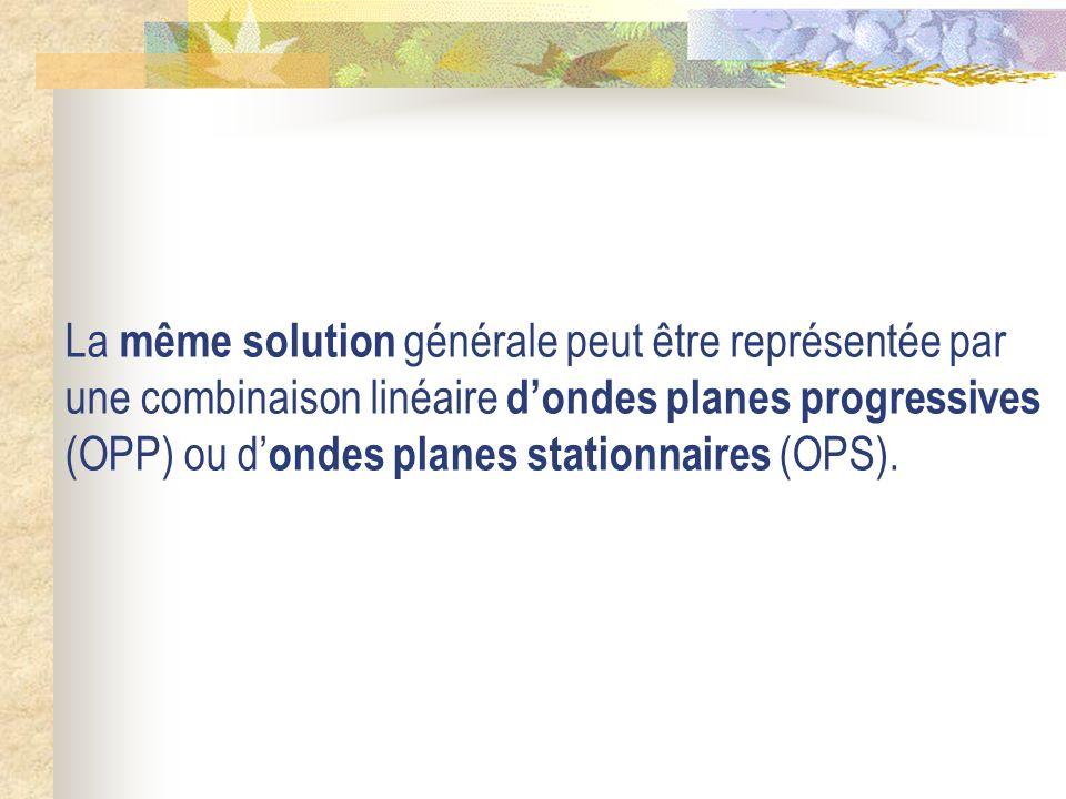 La même solution générale peut être représentée par une combinaison linéaire d'ondes planes progressives (OPP) ou d'ondes planes stationnaires (OPS).