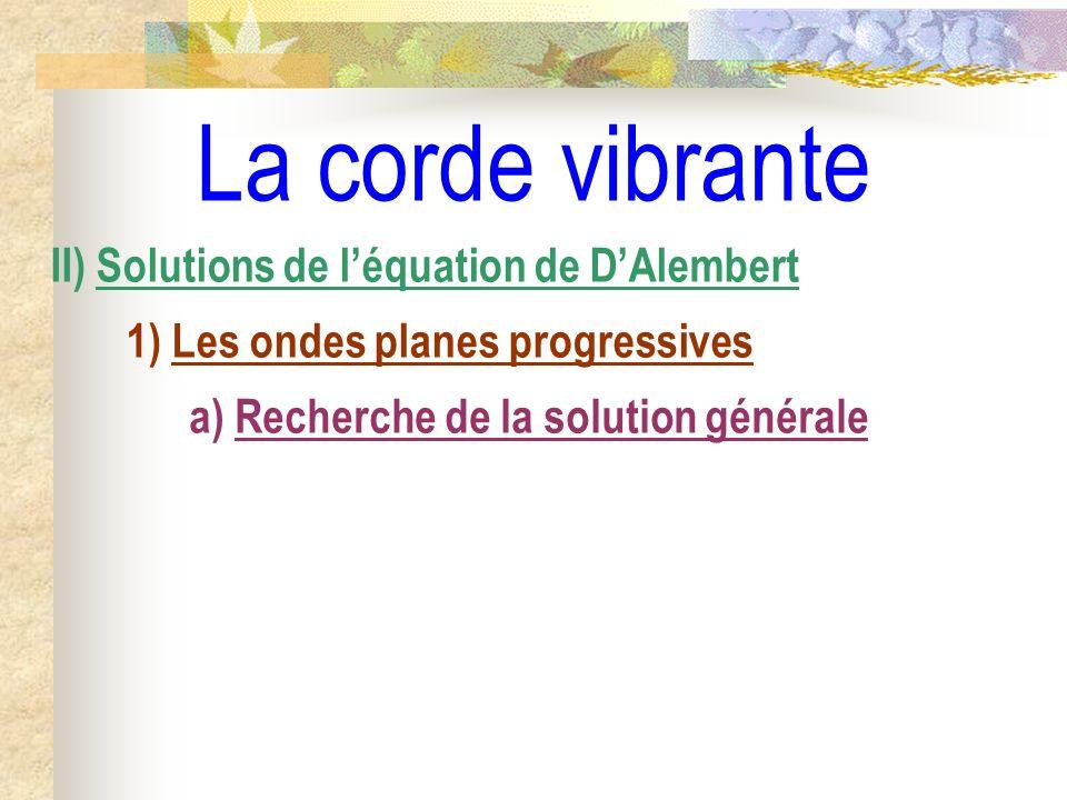 La corde vibrante II) Solutions de l'équation de D'Alembert