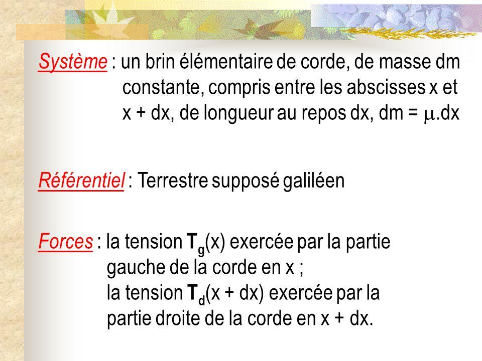Système : un brin élémentaire de corde, de masse dm constante, compris entre les abscisses x et x + dx, de longueur au repos dx, dm = .dx
