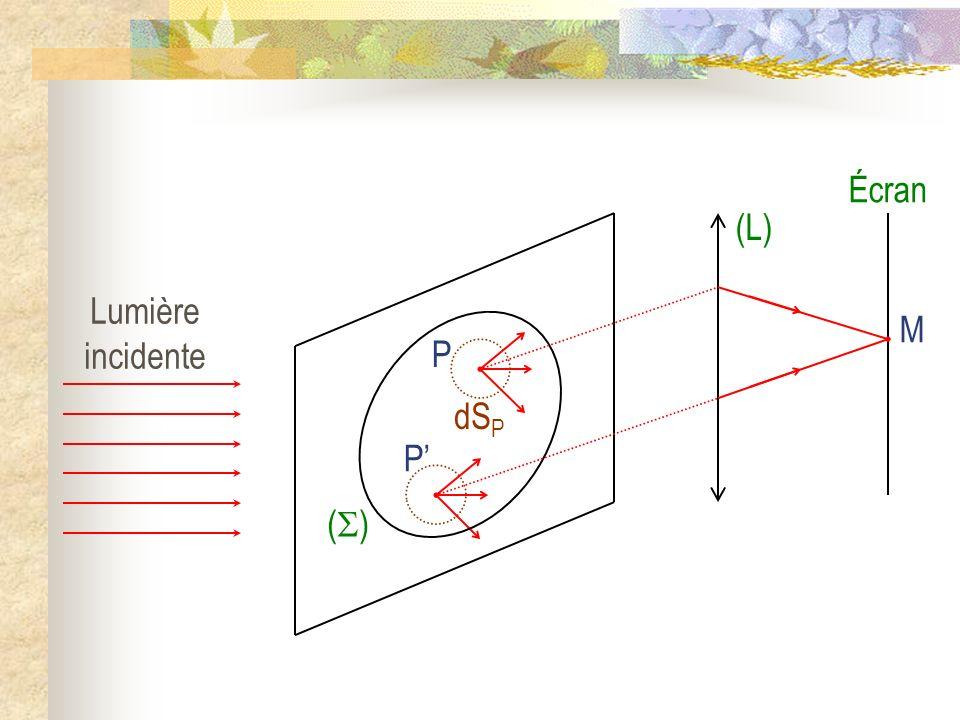 Écran M (L) () Lumière incidente P dSP P'