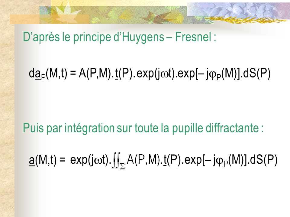 D'après le principe d'Huygens – Fresnel :