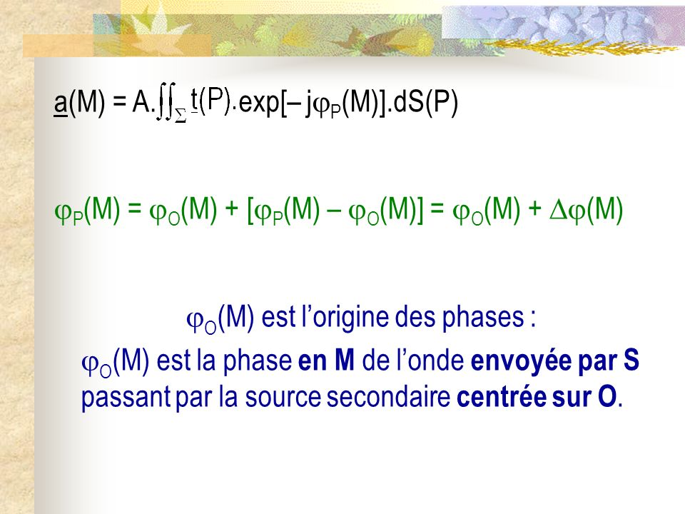 O(M) est l'origine des phases :