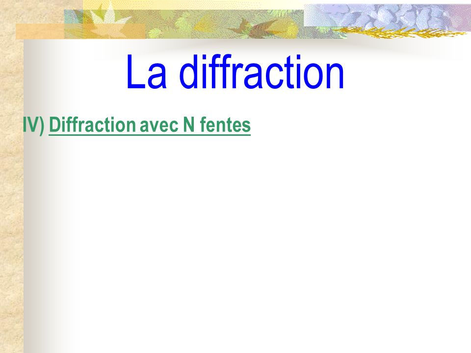 La diffraction IV) Diffraction avec N fentes