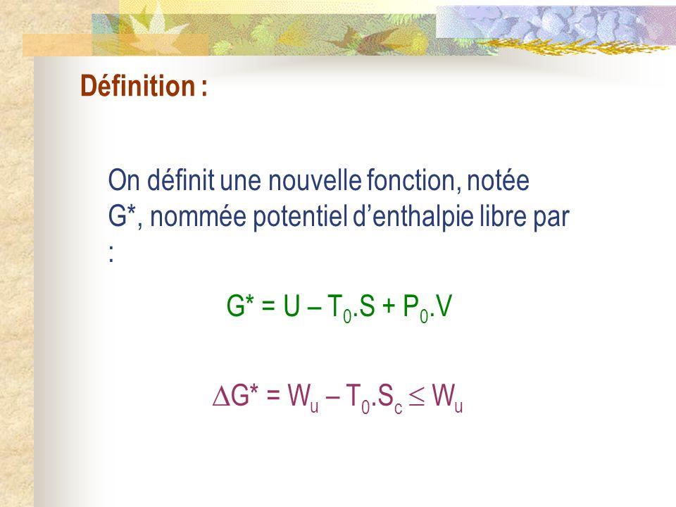 Définition : On définit une nouvelle fonction, notée G*, nommée potentiel d'enthalpie libre par : G* = U – T0.S + P0.V.