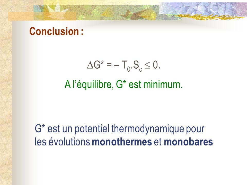 Conclusion : G* = – T0.Sc  0. A l'équilibre, G* est minimum.