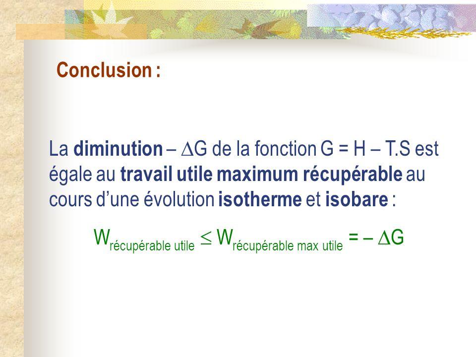 Wrécupérable utile  Wrécupérable max utile = – G