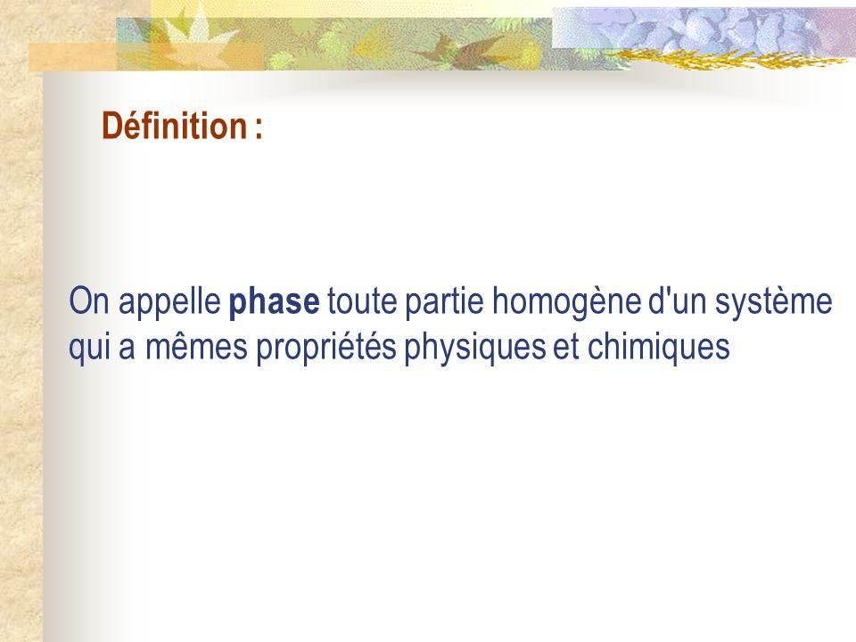 Définition : On appelle phase toute partie homogène d un système qui a mêmes propriétés physiques et chimiques.