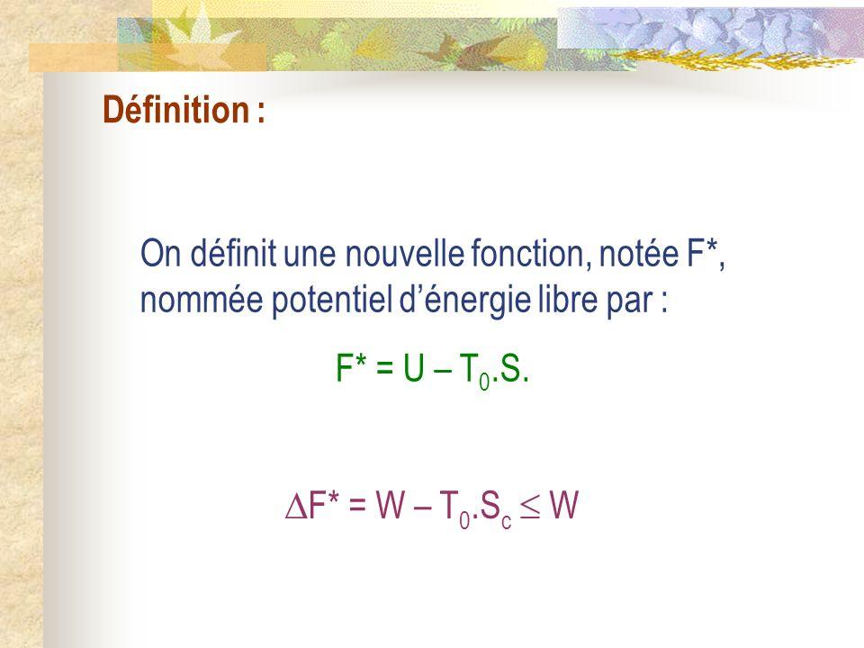 Définition : On définit une nouvelle fonction, notée F*, nommée potentiel d'énergie libre par : F* = U – T0.S.