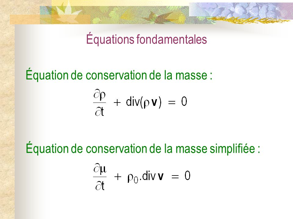 Équations fondamentales