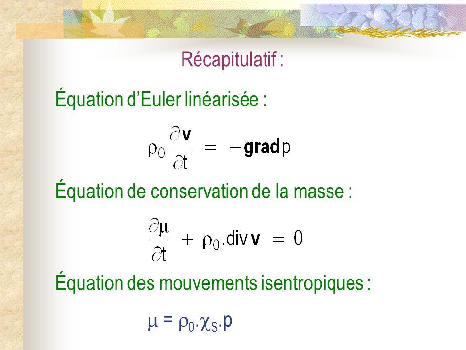 Récapitulatif : Équation des mouvements isentropiques :  = 0.S.p. Équation de conservation de la masse :