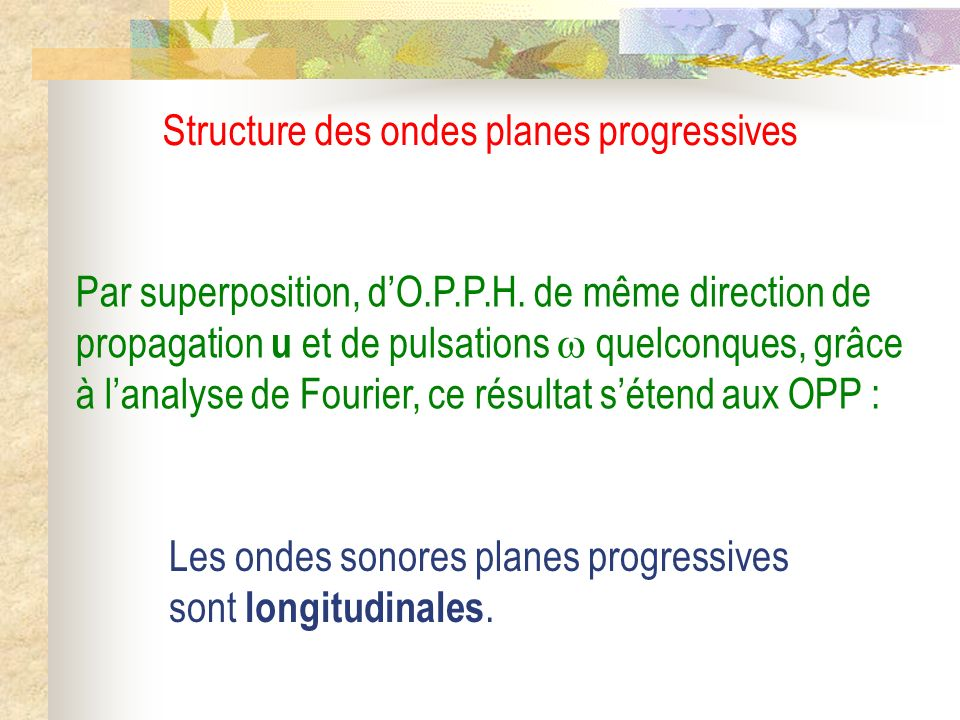 Structure des ondes planes progressives