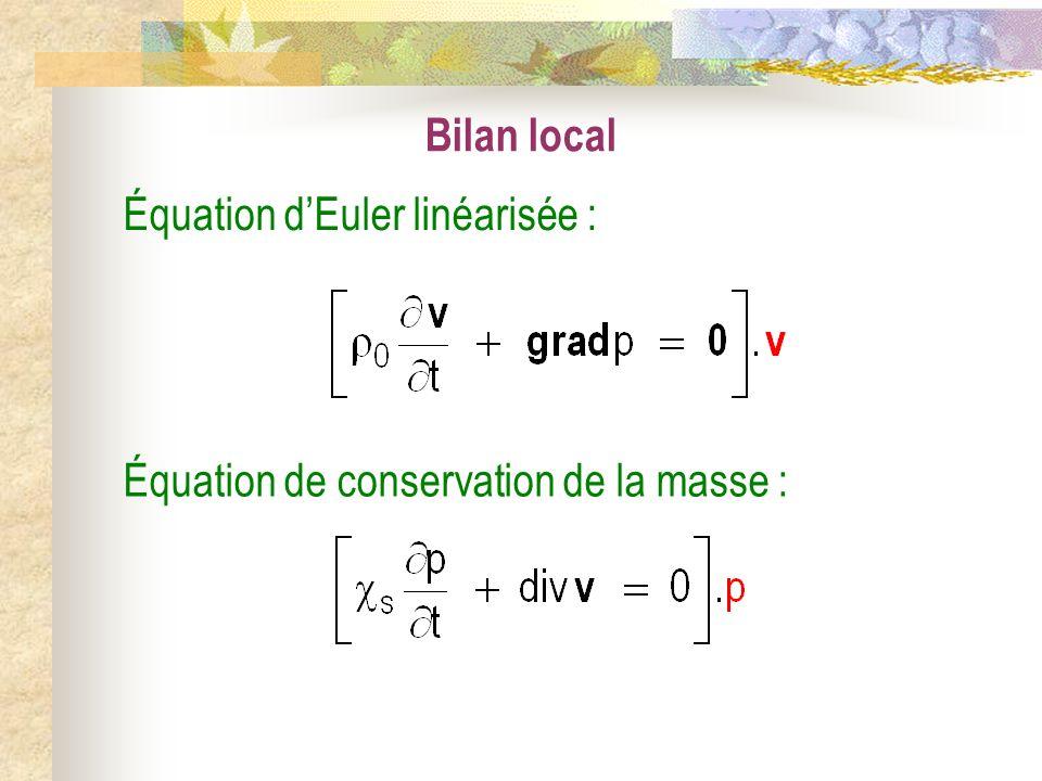 Bilan local Équation d'Euler linéarisée : Équation de conservation de la masse :