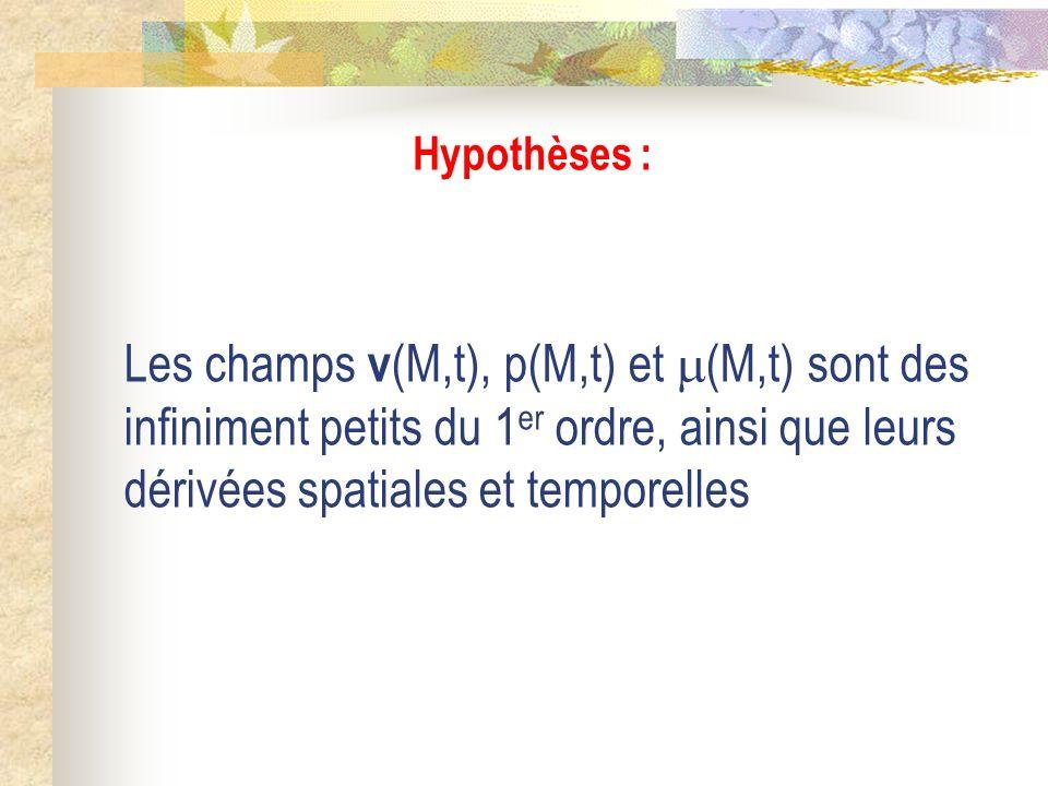 Hypothèses : Les champs v(M,t), p(M,t) et (M,t) sont des infiniment petits du 1er ordre, ainsi que leurs dérivées spatiales et temporelles.