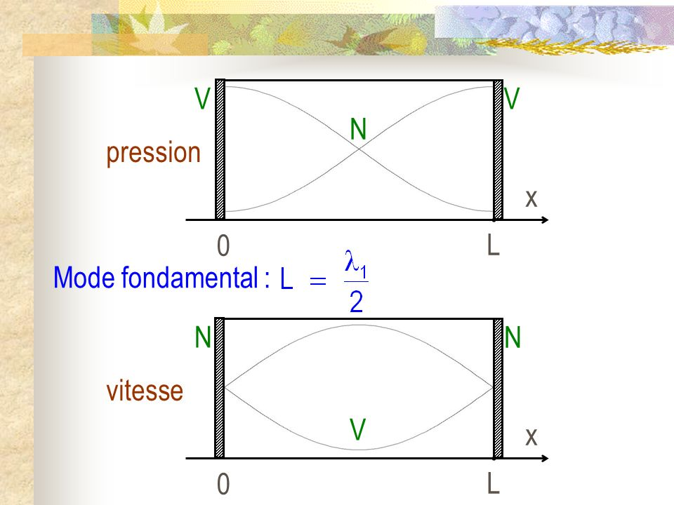 L x pression V N Mode fondamental : L x vitesse N V