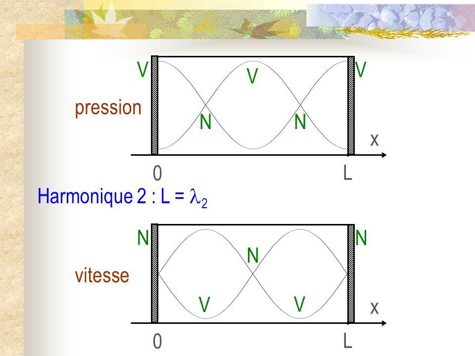 L x pression V N Harmonique 2 : L = 2 L x vitesse N V