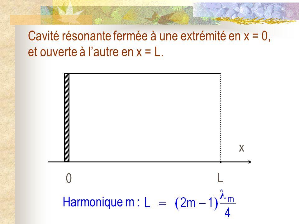Cavité résonante fermée à une extrémité en x = 0, et ouverte à l'autre en x = L.