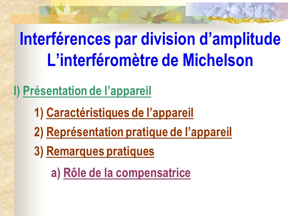 Interférences par division d'amplitude L'interféromètre de Michelson