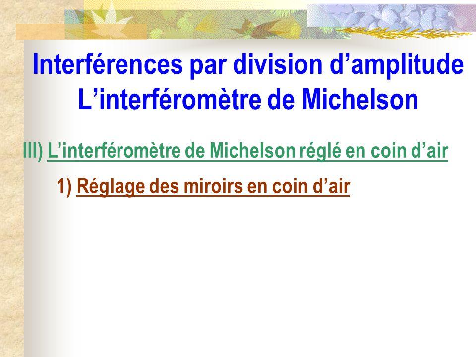 Interférences par division d'amplitude L'interféromètre de Michelson