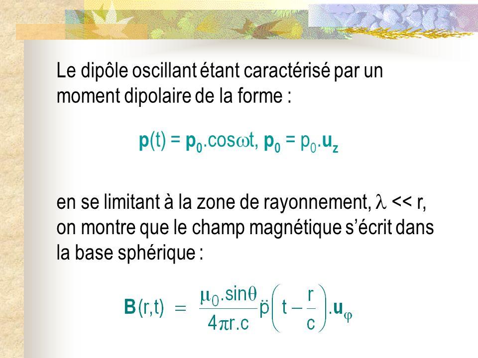 Le dipôle oscillant étant caractérisé par un moment dipolaire de la forme :