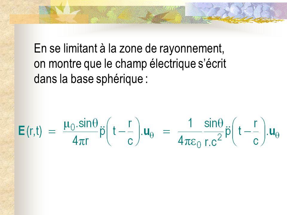 En se limitant à la zone de rayonnement, on montre que le champ électrique s'écrit dans la base sphérique :