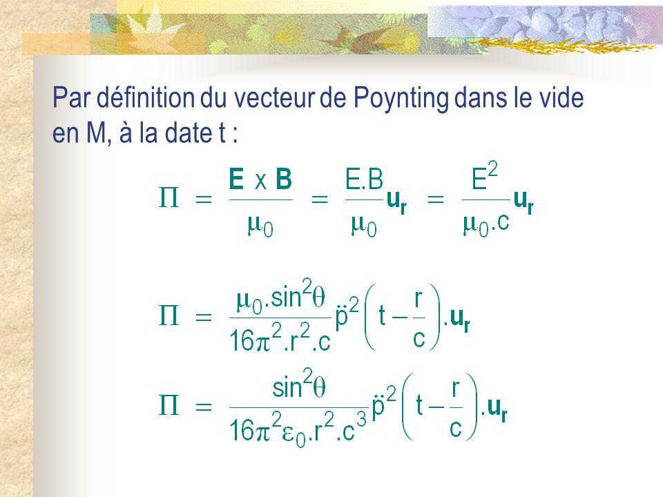 Par définition du vecteur de Poynting dans le vide en M, à la date t :