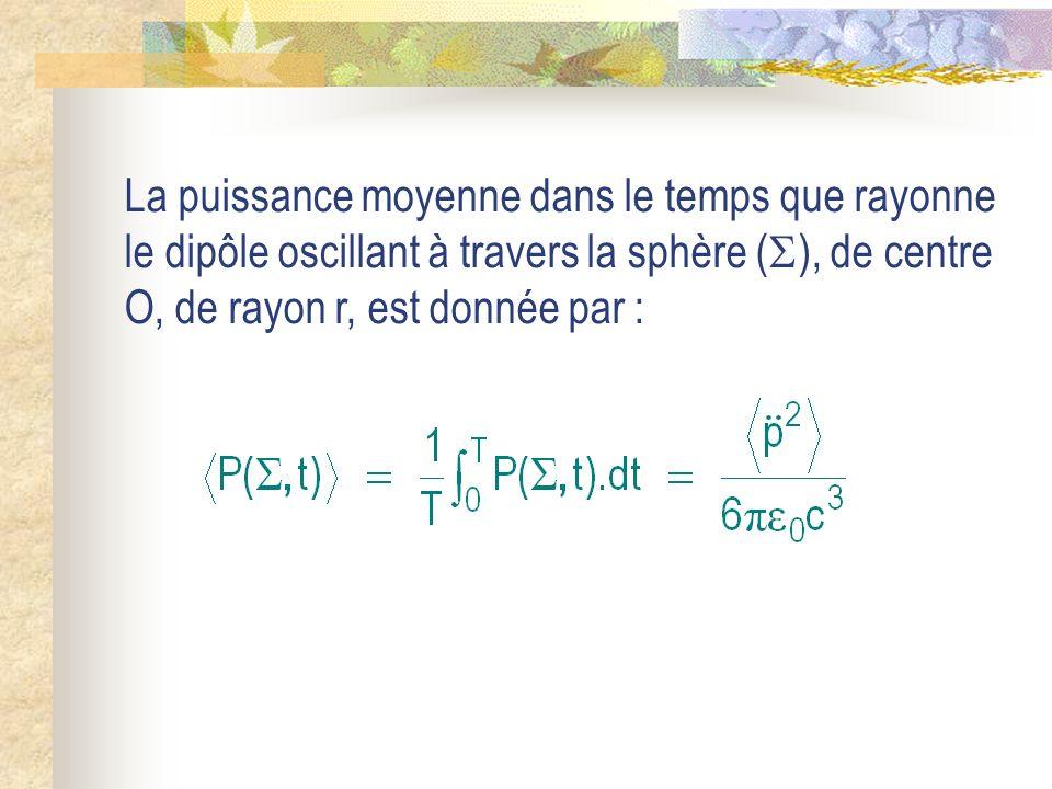 La puissance moyenne dans le temps que rayonne le dipôle oscillant à travers la sphère (), de centre O, de rayon r, est donnée par :
