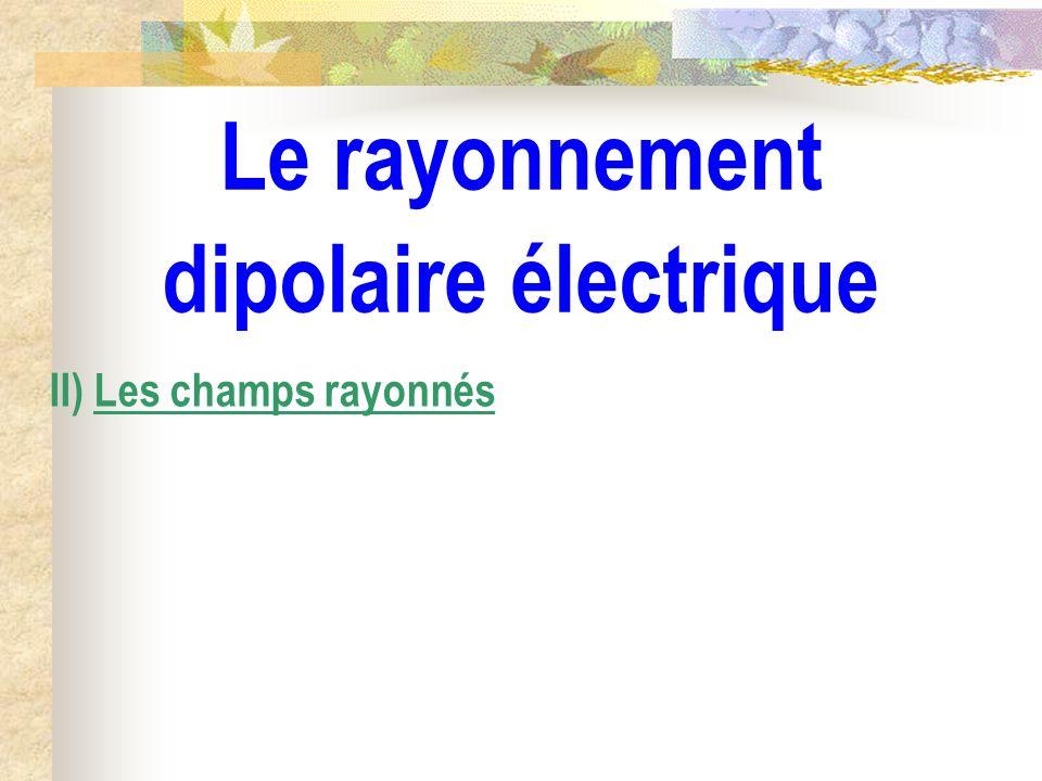 Le rayonnement dipolaire électrique