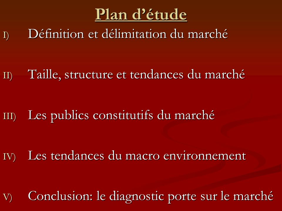 Plan d'étude Définition et délimitation du marché