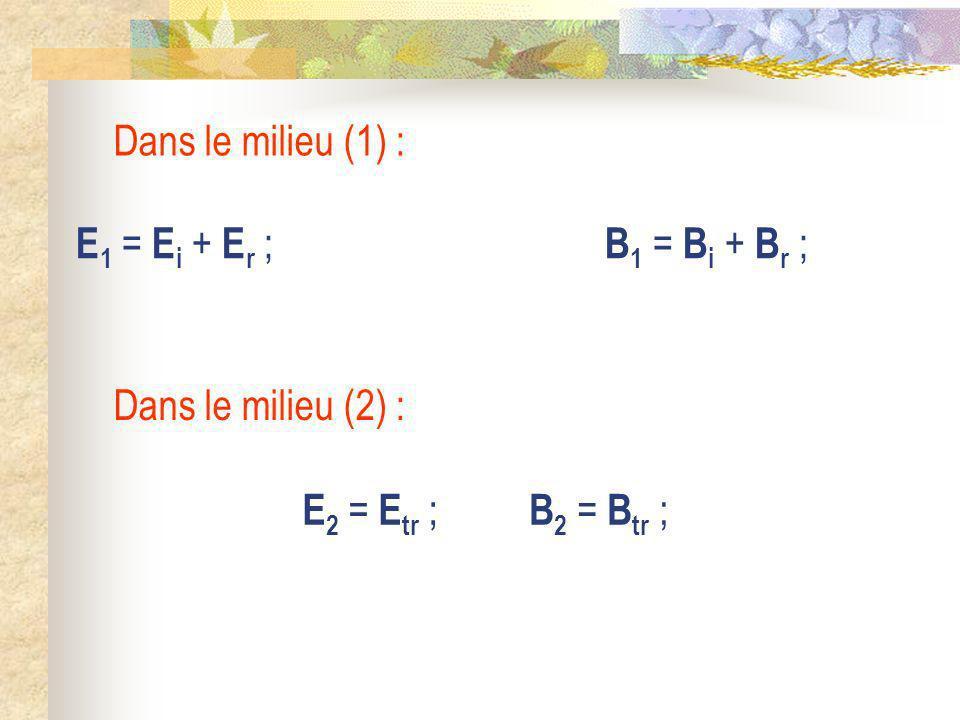 Dans le milieu (1) : E1 = Ei + Er ; B1 = Bi + Br ; Dans le milieu (2) : E2 = Etr ; B2 = Btr ;